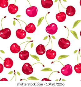 vector seamless pattern with cherry berries. Cherry background.