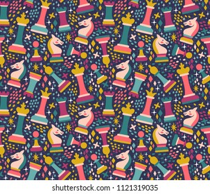 Vector seamless pattern with chess pieces. Cute hand drawn repeated texture with chessman. Bright childish background with chess king, queen, rook, bishop, knights, pawn.