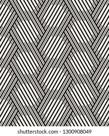 Vector seamless pattern with chevron. Modern geometric texture. Repeating abstract background. Polygonal grid with bold striped hexagons.