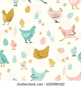 Vector seamless pattern with chicken for Easter and other users. Design element.