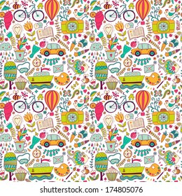 Vector seamless pattern, childish doodles. Pattern ,set of different school, travel, romantic things. Enjoy life concept. Use for wallpaper, pattern fills, web page background,surface textures.