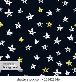 Vector seamless pattern in childish style with doodled stars