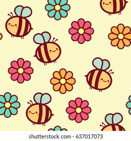 Vector Seamless Pattern for Children with Cute Bees and Flowers