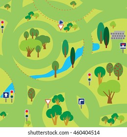Vector seamless pattern for children play mat, fabric and other. A green background. Summer forest roads.