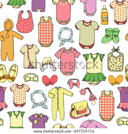 993c28c35ec1 Vector Seamless Pattern Childrens Clothes Bright Stock Vector ...