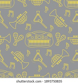 Vector seamless pattern with children's musical toys. Illustration with musical instruments. Maracas, synthesizer, trumpet, triangle and notes. Toys for kids. Design Illuminating and Ultimate Gray.