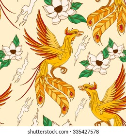 Vector seamless pattern with Chinese phoenix and lotuses