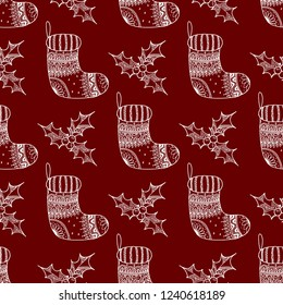 bdde9bf16 Vector seamless pattern of Christmas decorative symbol - sock and holly.  Christmas decorative texture of