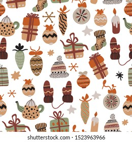 Vector seamless pattern with christmas elements. Gifts, candles, dishes, clothes for your design. Illustration flat style for greeting cards, packaging, postcard, banners.Happy winter vacation.