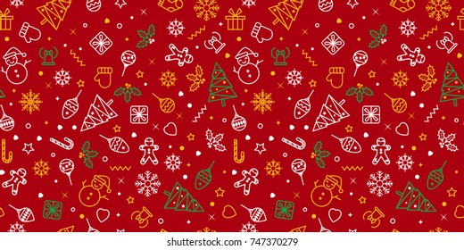 Vector seamless pattern with Christmas elements. Christmas and New year decoration. Winter background. Pattern for fabric, textile, wrapping paper and other decoration.