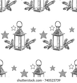 Vector seamless pattern with Christmas lantern with fir branches. Hand drawn illustration with New Year symbols isolated on white background. Winter holidays texture