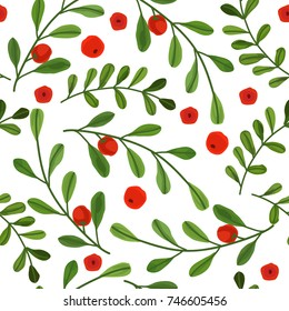 Vector seamless pattern for Christmas with mistletoe with berries
