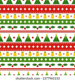 Vector seamless pattern with christmas ornament. Festive background for printing on paper, wallpaper, covers, textiles, fabrics, for decoration, decoupage, scrapbooking and other