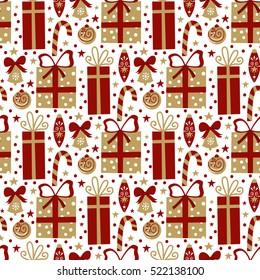 Vector seamless pattern with christmas symbols in cartoon style. Jingle bell, ball, presents, candy. Holiday background in vintage colors