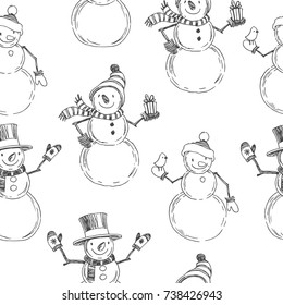 Vector seamless pattern with Christmas symbols. Hand drawn illustration with snowmen isolated on white background. New Year texture