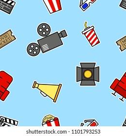 Vector seamless pattern of cinema theme