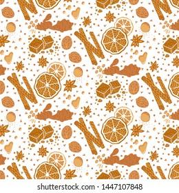 Vector seamless pattern with cinnamon, nutmeg, potpourri oranges, cloves, ginger, honey. Baking spices, mulled wine ingredients. Monochrome on white backround. Packaging, branding design element.