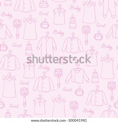 cff14e538efd Vector Seamless Pattern Clothes Little Girls Stock Vector (Royalty ...