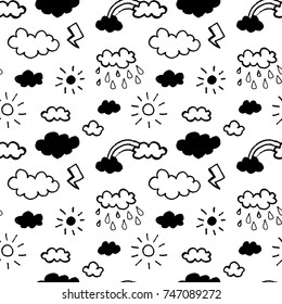 Vector seamless pattern with clouds
