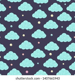 Vector seamless pattern with clouds and colored circles. Magical unicorn themed repeat background. Good for children textile, clothes, stationery, baby shower