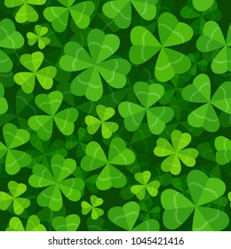 Vector seamless pattern with clover three and four leaves