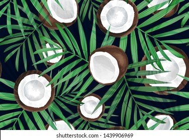 Vector seamless pattern with coconut. Tropical background with exotic fruits. Summer illustration. Coconut all over print. Palm frond. Tropical leaves, Jungle plants.