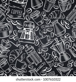 Vector seamless pattern coffee design with sketch cups, hot drinks, French press, brewer for menu cafe . Chalkboard style.