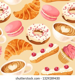 Vector seamless pattern with coffee and donuts