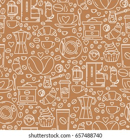 Vector seamless pattern with coffee making symbols in trendy linear style. Great print for packaging, online shop background