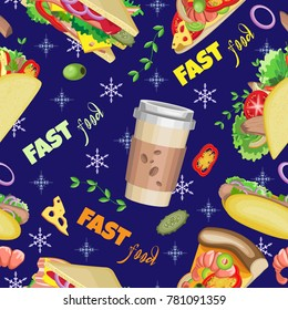 Vector seamless pattern of coffee, sandwiches, slices of pizza, hot dogs and tacos. On a dark blue background with snowflakes and food ingredients