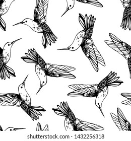 Vector seamless pattern with colibri.