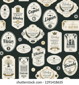 Vector seamless pattern with collage of labels for various alcoholic beverages in retro style with inscriptions of whiskey, liquor, cognac, wine, brandy.