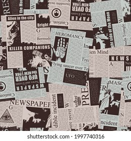 Vector seamless pattern with a collage of magazine and newspaper clippings. Colored abstract background with unreadable text, illustrations and titles in retro style. Wrapping paper, wallpaper, fabric