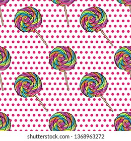 Vector seamless pattern color lolipop on pink polka-dots  background. Candy in pop art style.