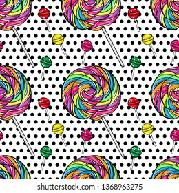 Vector seamless pattern color lolipop on black polka-dots  background. Candy in pop art style.