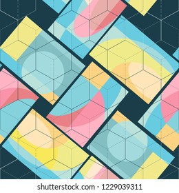 Vector seamless pattern colored abstract rectangular tiles. With superimposed grid in the form of white and dark hexagons On black and blue background