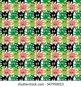 vector seamless pattern with colored cartoon blots