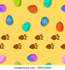 vector seamless pattern with colored eggs and dinosaur footprint in the sand. Funny background for printing on the packaging paper, books, textile and children's stuff