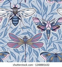 vector seamless pattern with colored hand drawn insects on a floral background