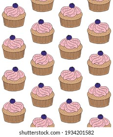Vector seamless pattern of colored hand drawn doodle sketch cupcake isolated on white background