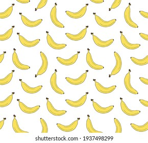 Vector seamless pattern of colored hand drawn doodle sketch banana isolated on white background