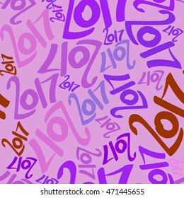 Vector seamless pattern of colored numbers 2017. New Year seamless background.
