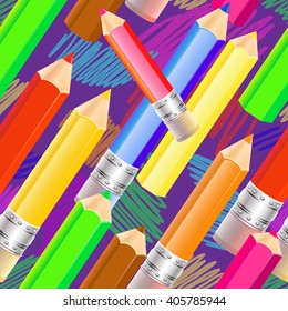 Vector seamless pattern with colored pencils and lines.