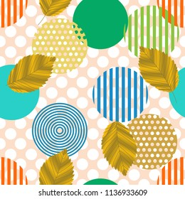 Vector seamless pattern. Colorful Abstract background with round polka dots mix in stripe. For the press on wall-paper and a tile