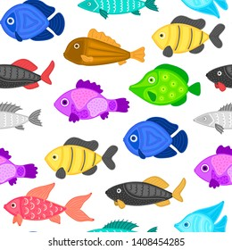 Vector seamless pattern with colorful abstract fish. Undersea world. Aquarium. Wrapping paper, package, wallpaper, poster, clothing and other textile in a pet store, fishing gear shop or aquapark
