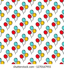 Vector seamless pattern with colorful cartoon balloons.