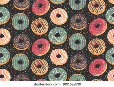 Vector seamless pattern with colorful donuts. Glaze, sprinkle and chocolate donuts with hand drawn texture. Tasty, fresh and yummy dessert. Endless background for fabric, textile