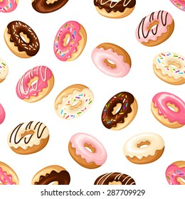 Vector seamless pattern with colorful donuts with glaze and sprinkles on a white background.
