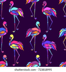 Vector seamless pattern with colorful flamingos. Texture for wallpapers, textile design, web page backgrounds