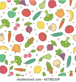 Vector seamless pattern with colorful fruits and vegetables.